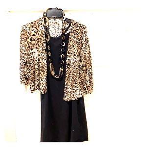 Chico's Leopard Cardigan - Sz 2 (12-14)